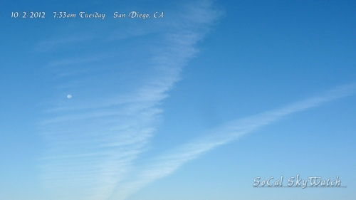 10/2/12 San Diego 7:33am - V shaped expanding chemtrail formation over North San Diego & Del Mar
