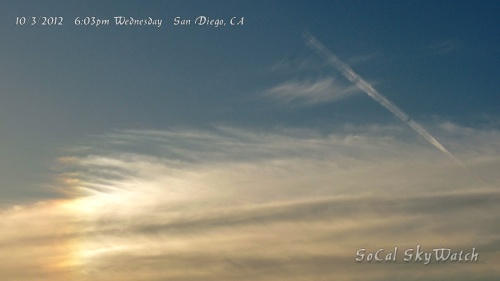 10/3/12 San Diego 6:03pm - Intense chemtrail sun dog with HAARP waves forming and expanding chemtrail line segment.