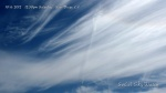 10/6/2012 San Diego 12:30pm - Fresh chemtrail crosses expanding parallel chem plumes, passes across taffy-like chem haze and into the iridescent HAARP wave cloud formation.