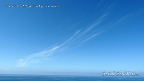 "10/7/2012 La Jolla 12:08pm - Strung out drifting chemtrail ""cloud"" over the ocean."