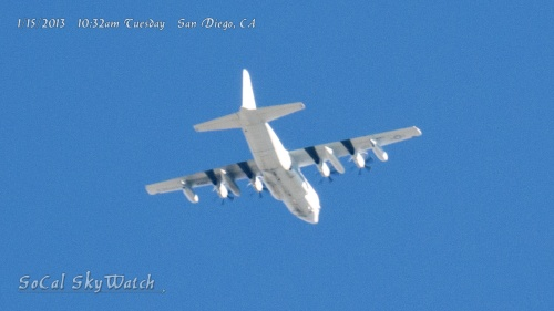10:32am Military prop plane passes over. It is unknown if this plane is related to the spraying program.