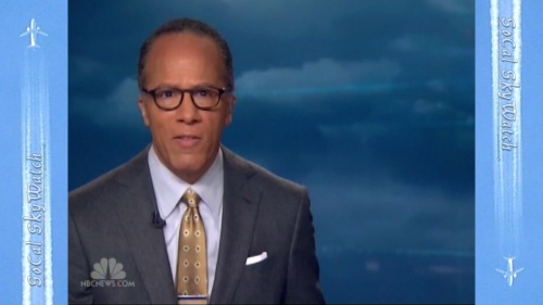 NBC Nightly News Weekend Edition with Lester Holt and chemtrail cloud background graphics.